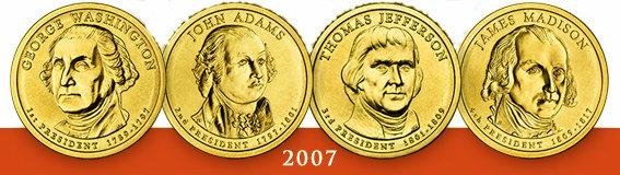 2007 Presidential Dollar Coins  Get all  4 Sets 8 coins Washington Adams Jefferson Madison
