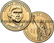 2007 Thomas Jefferson Gold Dollar coin set P & D