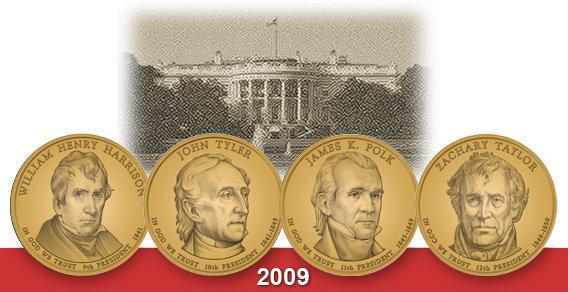 2009 Presidential Dollar Coins Subscription Get all 4 Sets 8 coins Harrison Tyler Polk Taylor UNC