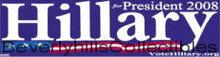 2008 HILLARY CLINTON PRESIDENT BUMPER STICKER