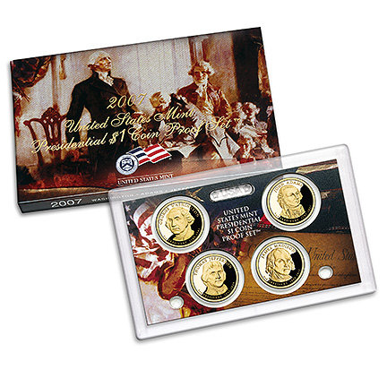 2007 US Mint Presidential $1 Coin Proof Set w Cert Washington Adams Jefferson Madison
