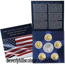 2007 US Mint Unc Presidential Dollars Sacagawea  American Silver Eagle 6 coin Set