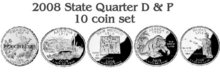 2008  State Quarters 10 coin set Denver  Philadelphia Uncirculated