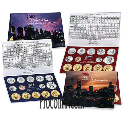 2008 US Mint Uncirculated Set  New In Box with Certificate of Authenticity 28 coins