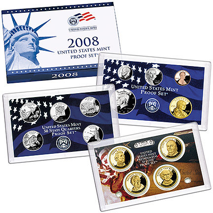 2008 United States Mint Proof 14 coins New In Box Certificate of Authenticity