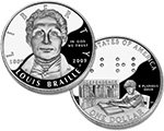 2009 Louis Braille Commemorative Proof Silver Dollar
