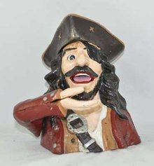 PIRATE MECHANICAL BANK CAST IRON