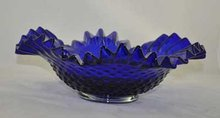 COBALT BLUE HOBNAIL PATTERN BOWL RUFFLED EDGES