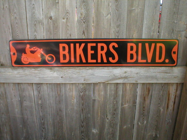 BIKERS BLVD HEAVY METAL STREET SIGN