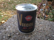 VEEDOL 10-30 MOTOR OIL CAN BANK NEW