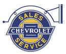 GENERAL MOTORS CHEVROLET SALES SERVICE BRACKET SIGN 23