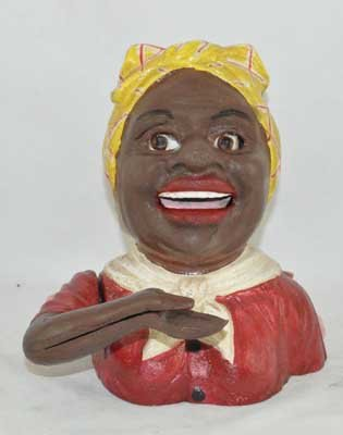 SMALL BLACK GIRL MECHANICAL BANK RED BLOUSE CAST IRON