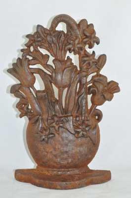 FLOWER BASKET DOORSTOP RUSTIC CAST IRON