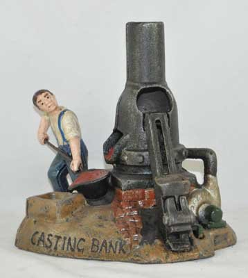 CASTING FURNACE MECHANICAL BANK COLORFUL CAST IRON