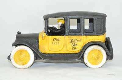 COLORFUL YELLOW CAB CAR CAST IRON