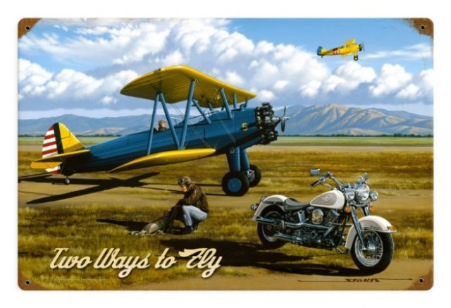 TWO WAYS TO FLY VINTAGE STYLE SIGN 18