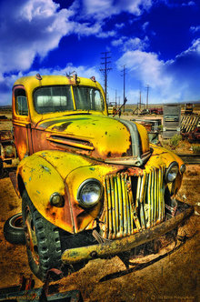 OLD YELLOW FORD TRUCK METAL SIGN 17