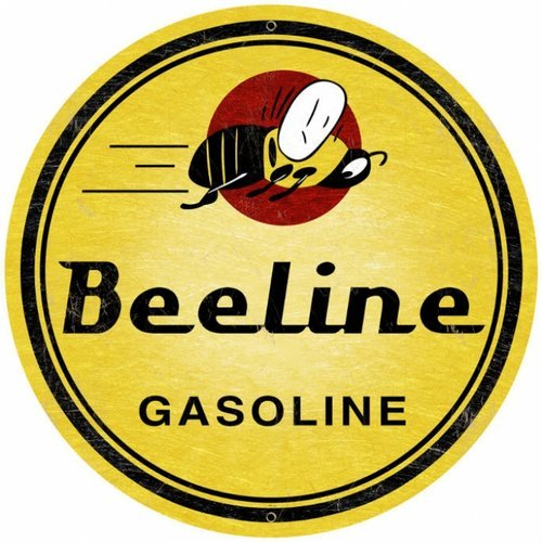 BEELINE GASOLINE ROUND METAL SIGN 14