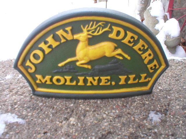 JOHN DEERE MOLINE ILLINOIS DOORSTOP CAST IRON