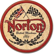 NORTON BRITISH MACHINES ROUND METAL SIGN