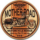 MOTHER ROAD MOTORCYCLE REPAIR ROUND METAL SIGN