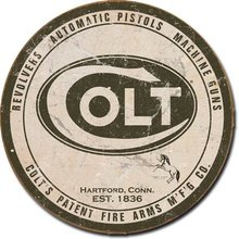 COLT'S PATENT FIRE ARMS MFG CO ROUND TIN SIGN
