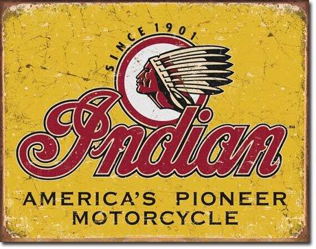 INDIAN AMERICA'S PIONEER MOTORCYCLE METAL SIGN