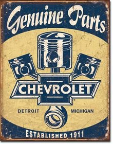 CHEVROLET GENUINE PARTS PISTONS DETROIT MICHIGAN METAL SIGN