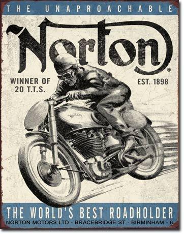 NORTON WINNING MOTORCYCLE 1898 METAL SIGN