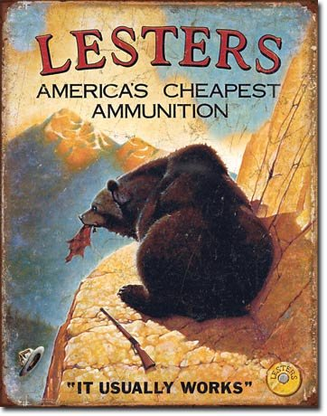 LESTERS AMERICA'S CHEAPEST AMMUNITION METAL SIGN
