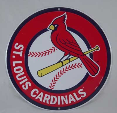 ST. LOUIS CARDINALS ROUND METAL SIGN