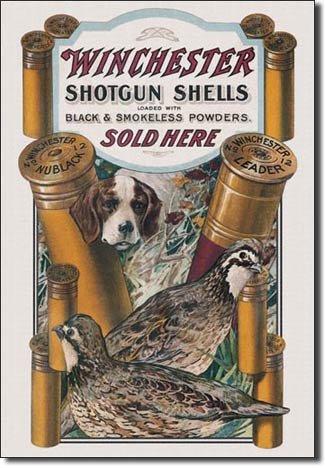 WINCHESTER SHOTGUN SHELLS DOG QUAIL METAL SIGN