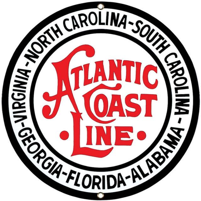 Atlantic Coast Line Porcelain Enamel Steel Sign