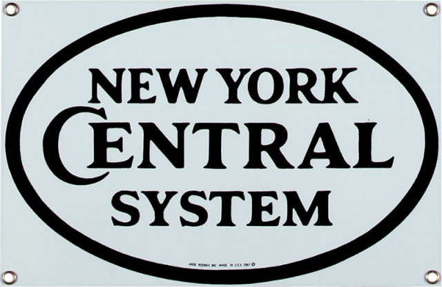 NEW YORK CENTRAL PORCELAIN ENAMEL STEEL SIGN