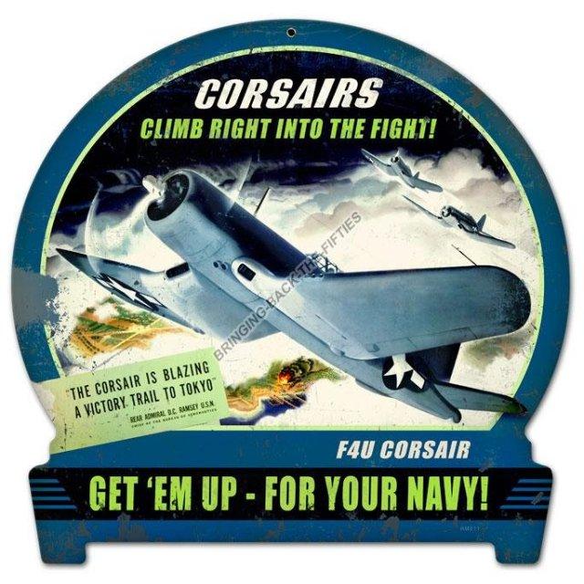Navy Cosairs Climb Heavy Metal Sign