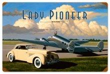 LADY PIONEER VINTAGE METAL SIGN P