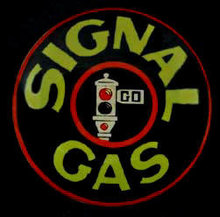 SIGNAL GAS SIGN HEAVY METAL DOME ROUNDED FRONT
