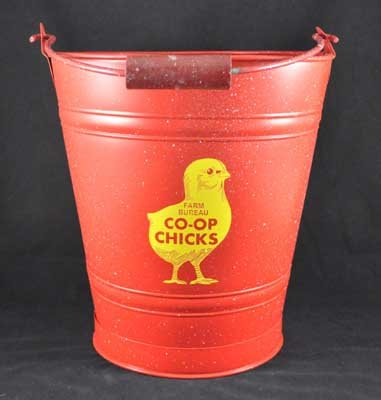 FARM BUREAU CO-OP CHICKS METAL BUCKET TRASH CAN