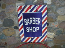 BARBER SHOP SIGN LARGE METAL OLD LOOK