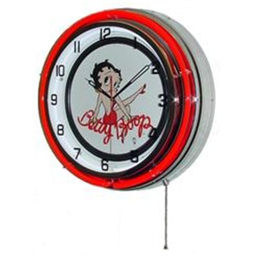 BETTY BOOP DOUBLE NEON WALL CLOCK RED 18.75