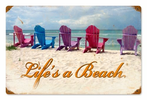 BEACH CHAIRS HEAVY METAL SIGN
