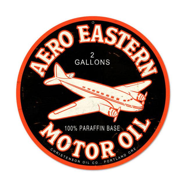 AERO EASTERN MOTOR OIL ROUND HEAVY METAL SIGN