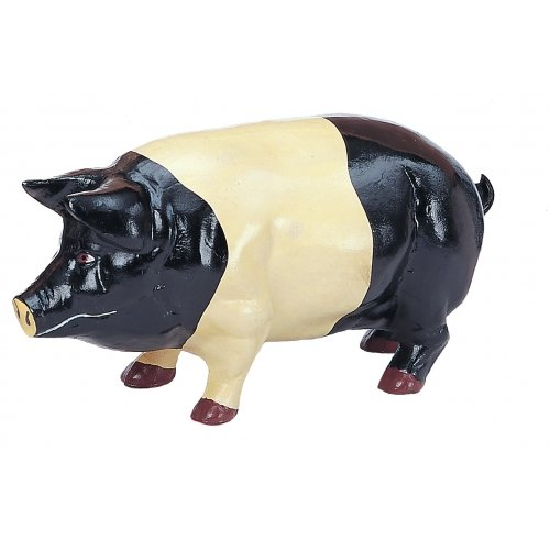 LARGE BLACK WHITE PIG CAST IRON 22 LBS