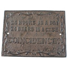 24 HOURS DAY CAST IRON RUSTIC SIGN