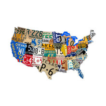 LICENSE PLATE USA STATES CUSTOM SHAPE METAL SIGN LARGE L