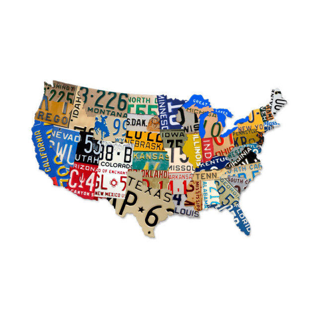 LICENSE PLATE USA STATES CUSTOM SHAPE METAL SIGN LARGE L