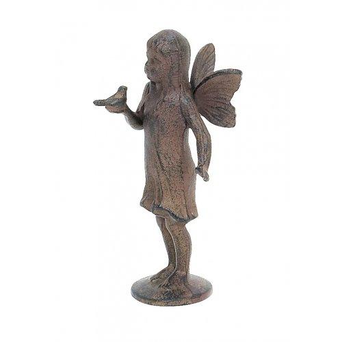 STANDING ANGEL HOLDING BIRD CAST IRON