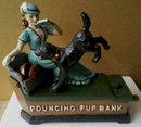 POUNCING PUP MECHANICAL BANK CAST IRON
