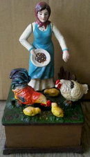 LADY FEEDING CHICKENS OLD MACDONALD FARM MUSICAL WIND UP BANK