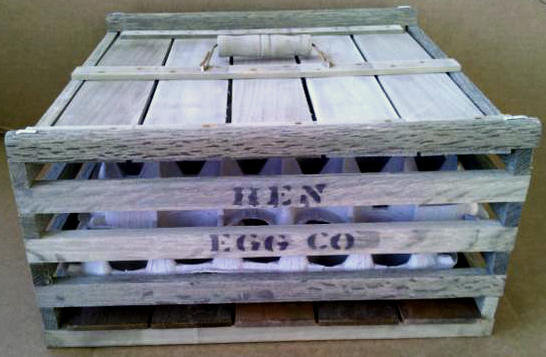 MEDIUM WOODEN HEN EGG COMPANY CRATE